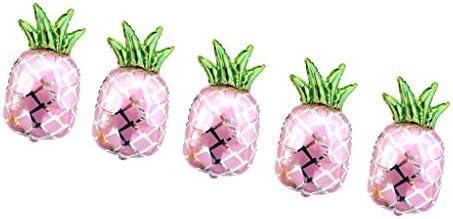 5個 風船 バルーン パイナップル フルーツ 果物風船 飾り 装飾 2色選べる - ピンク