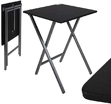 Mesa cuadrado plegable negra 48x48x65 cm: Amazon.es: Bebé
