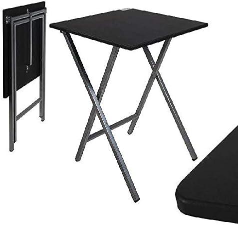 Mesa cuadrado plegable negra 48x48x65 cm