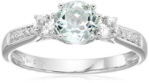 10k White Gold Aquamarine Created White Sapphire and Diamond Ring, Size 7 Aquamarine 10k Gold Ring