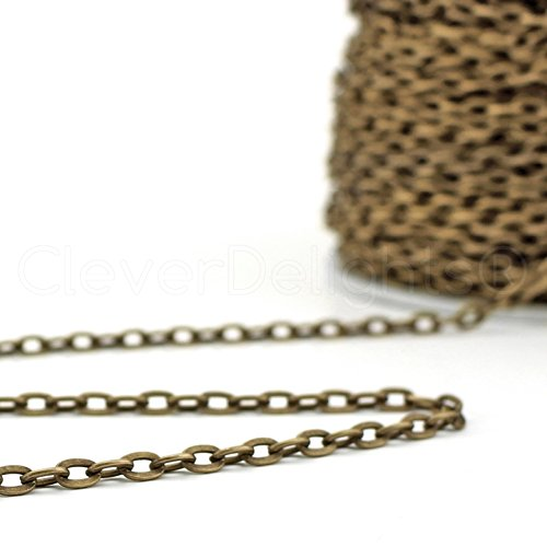 Cable Chain Spool 10 Yd Rolo Antique Bronze Color 30 Feet 3x4mm Link