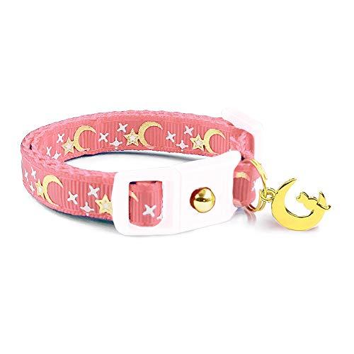 waaag Pet Collar Gold Moons and Stars Cat Collar, Breakaway Cat Collar, Glow in The Dark (Coral Pink, 6.5