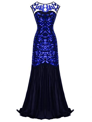 - FAIRY COUPLE 1920s Floor-Length V-Back Sequined Embellished Prom Evening Dress D20S004(M,Black+Royal Blue)