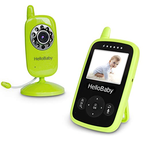 HelloBaby Baby Monitor 2.4Hz Digital Wireless, Night Vision LCD Screen Display,Two-Way Talk Back System and Room Temperature Monitoring, 8 Lullabies, Zoom (Green)