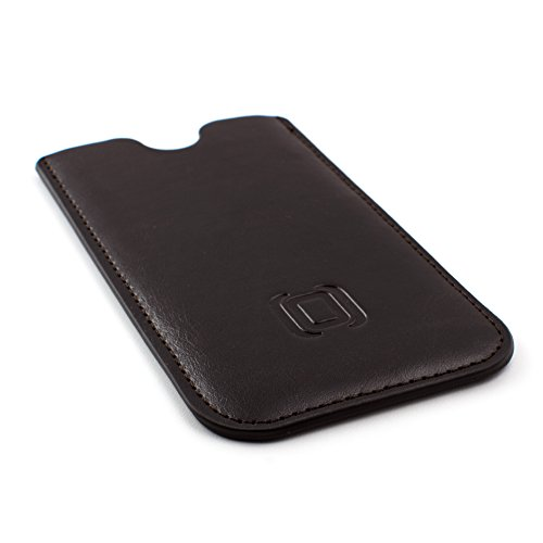 Dockem Executive Sleeve for Google Pixel 3 XL, Pixel 2 XL and Pixel XL - Slightly Padded Microfiber Lined Professional Synthetic Leather Slip-on Case [Dark Brown]