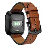 Fashion Clearance! Noopvan for Fitbit Versa Strap Leather Women Men, Replacement Colorful Leather Bands with Metal Clasp and Breathing Hole Strap Bracelet Adjustable Wristbands Smartwatch (Brown)