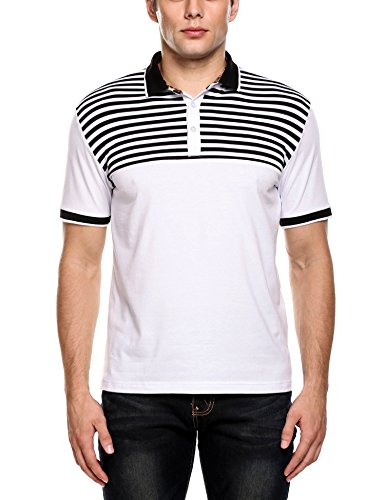 (Coofandy Men's Striped Short Sleeve Polo Shirt Collared Inner Floral Shirts,Black,Small)