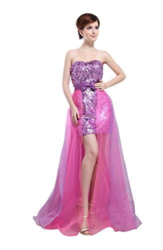 VogueZone009 Womens Strapless Silk Pongee Formal Dress with Sequin and Bowknot, Pink, 16 by VogueZone009