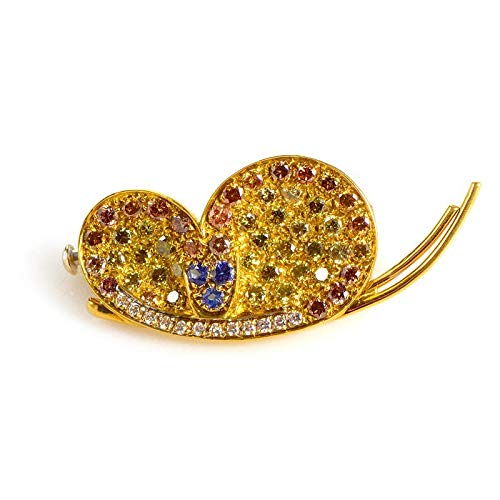 Luxury Bazaar 18K Yellow Gold Multi Diamond and Sapphire Butterfly - Diamond Butterfly Pin
