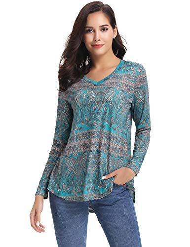Macr&Steve Women's Tops Blouse Shirt Tunic Paisley Printed Long Sleeve Henley V Neck Casual Loose Shirts Green