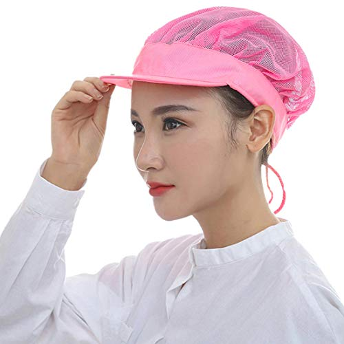 Jiyaru Men Women Chef Hat Adjustable Cooking Catering Cap Breathable Mesh Pink