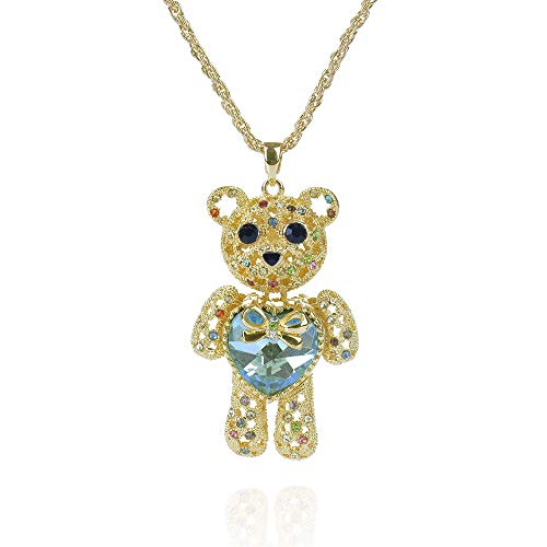 Mellme Princess Bear Necklace Colorful Love Heart Crystal Gold Teddy Bear Sweater Chain Jewelry Women (Light Blue Crystal)