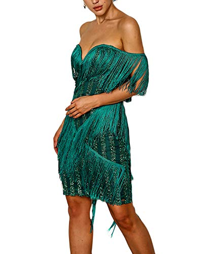 Ohvera Women's Tassel Glitter Sparkle Sequined Off Shoulder Party Evening Prom Gown Mini Bodycon Dress Green ()