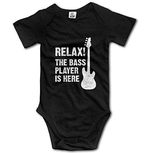 Relax The Bass Player is Here Infant Short-Sleeve Bodysuit Baby Boys Girls Black -