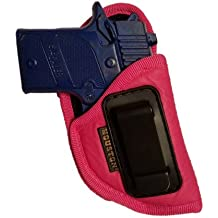 "Pink ECO LEATHER Gun Concealment Soft Holster Inside The Waistband IWB With Metal Clip Fits GLOCK 42,SIG P 938, 1911 3"", Kahr 380, Bersa 380, Diamond Back 9mm"