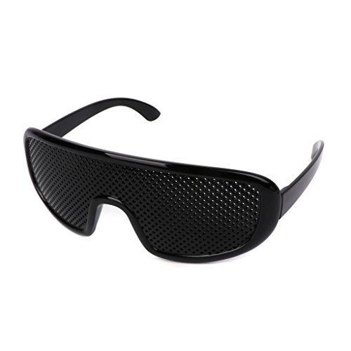 Lergo Vision Improvement Glasses Vision Correction Glasses, Black Resin Goggles Small Holes, 2 Pcs Eyesight Protection Eyewear Prevention Near Eyesight Astigmatism Amblyopia