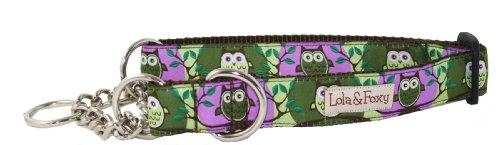 Lola & Foxy Purple Owl Dog Martingale Collar, Large