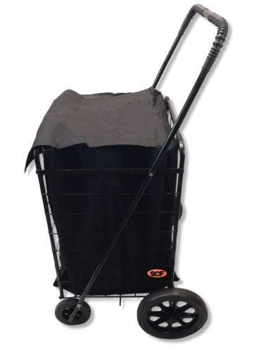Extra Large Folding Shopping Cart Basket 4 Wheel Jumbo WITH FREE LINER AND CARGO NET by SCF (Black with Black Liner)