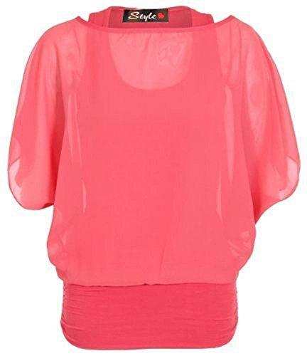 New tamaño para mujer más de 2-in-1 de chifón de traje de neopreno para mujer blusa con instrucciones para coser camisetas Batwing talla UK 8-26 Coral