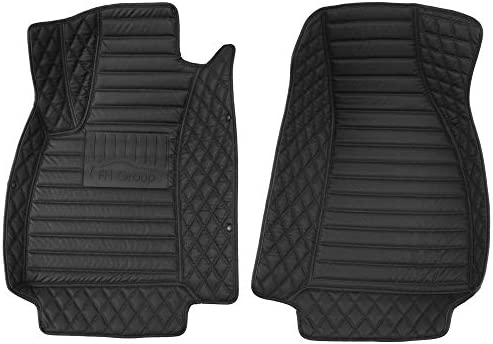 FH Group Custom-fit Heavy Duty Faux Leather Front Car Floor Mats fits 2016-2019 Audi A4 Sedan, Black Color, Mixed Pattern