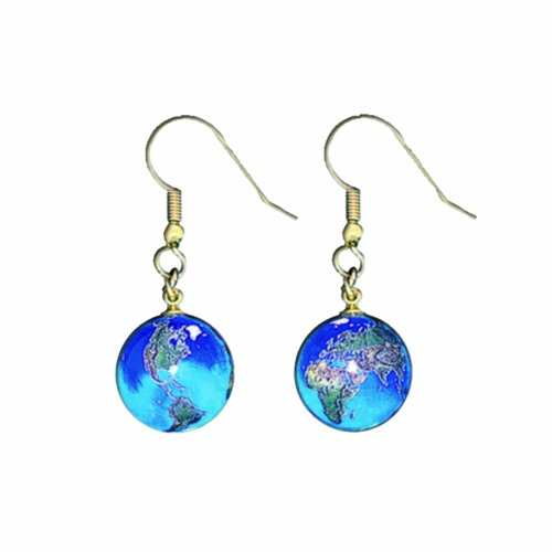 Earrings, Blue Earth Marbles, Natural Earth Continents, Gold Fill Findings, Half Inch Diameter Globes