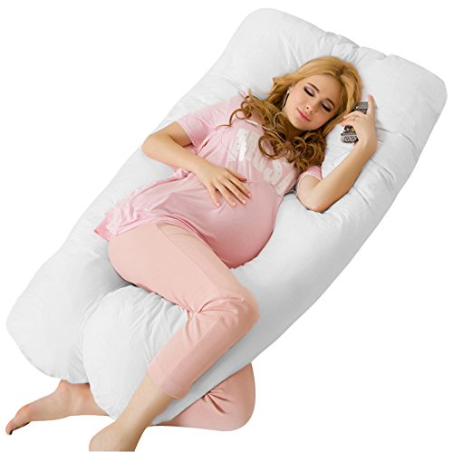 Dream Premium U Shape Comfortable Pregnancy Pillow Maternity Pillow for Side Sleeping for Growing Tummy Support,Plus 100% Cotton Zipper Removable Cover(White)