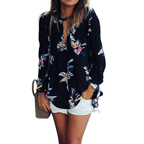 Phoenix Women Casual Floral Printing Long-sleeved Chiffon Shirt Blouse Tops (L, Black)