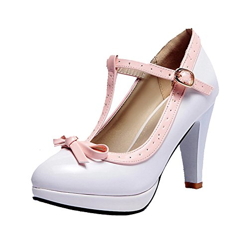 VogueZone009 Women's High Heels Assorted Color Buckle Round Closed Toe Pumps-Shoes White 6buddrzF
