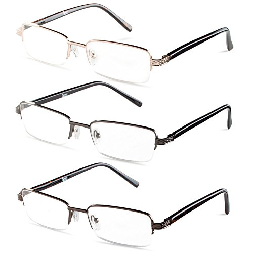 Half Rimmed Rectangular Reading Glasses For Mens - Free Microfiber Cleaning Pouch +2.25 Value 3 - Glasses Rectangular Mens