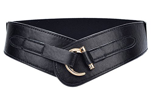 Black Stretch Leather - TY belt Women Leather Belt Fashion Hook Designed Buckle Wide Waist Belt Chic Elastic Stretch Waist Band (black)