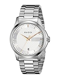 Gucci YA126442 Women's Timeless Wrist Watches, Silver Dial, Silver Band