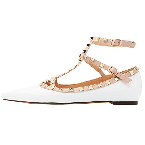 Flats Straps White MERUMOTE Pointed Shoes Ballet Flats Ballets Rivets Toe patent Women's Ankle wUTEOE
