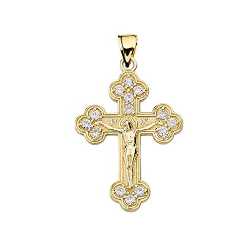 Fine Eastern Orthodox Diamond Pendant in 14k Yellow Gold - 14k Dia Cut Cross Pendant