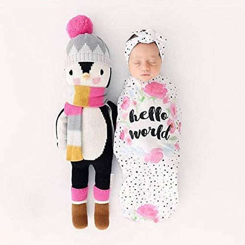(Hixixi Newborn Baby Swaddle Wraps Swaddle Cocoon Bag and Headband Value Set for Infant Boy or Girl Personalized Baby Gifts(Hello World))
