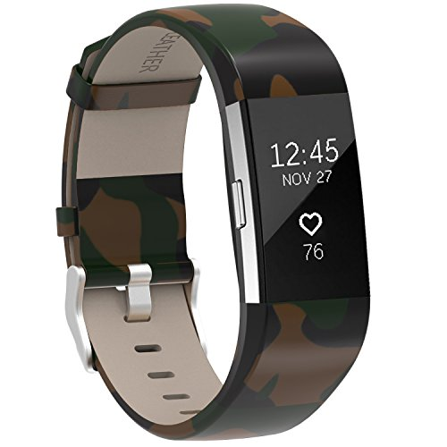 For Fitbit Charge 2 Bands Camo, Henoda Leather Wristband for Fitbit Charge 2 Replacement Strap Women Men Large Small White Leather Camo