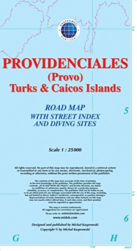 Providenciales (Provo), Turks & Caicos Islands, Road Map with Street Index and Diving Sites