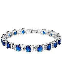 Ever Faith Silver-Tone Full Cubic Zirconia Oval Roman Tennis Bracelet