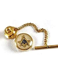 DJ4191MOP Masonic Tie Tac with Chain MOP/Gold
