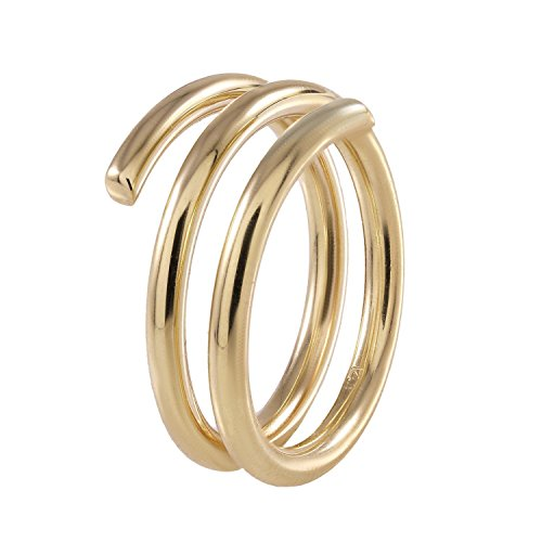 18k Yellow Gold Lapis Ring (BallucciToosi Spiral Rings-14k or 18k Rose White Yellow Real Gold - Simple Spiral Band Women Jewelry 2mm Size 4 to 10)