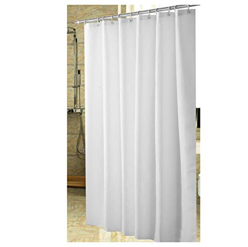 Polyester Fabric Shower Curtain with 12 pcs Hooks Waterproof Plastic Bath Screens Solid Color Eco-Friendly Bathroom ()