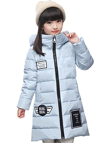 Menschwear Girl's Down Jacket Hooded Winter Warm Outwear (120,Blue) by Menschwear