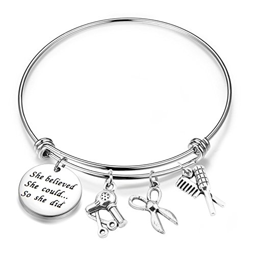 resser Gift Hair Stylist Gift Cosmetology Graduation Gift She Believed She Could so She Did Bracelet (Hair Stylist Bracelet) ()