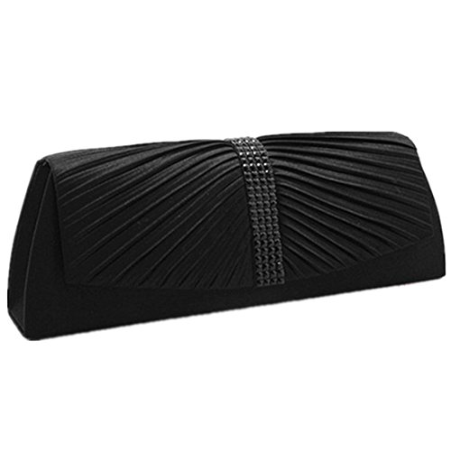 Women Satin Purse Pleated Clutch Evening Wedding Bridal Silk Black q7qEwrv