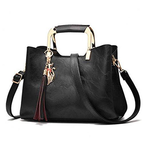 Las mujeres Vintage bolsos de cuero Bolsos Bolso Mujer Borla Bolso De cuero femenino señoras bolso de mano Crossbody bolsos saco una rosa principal 27x13x20cm. Black