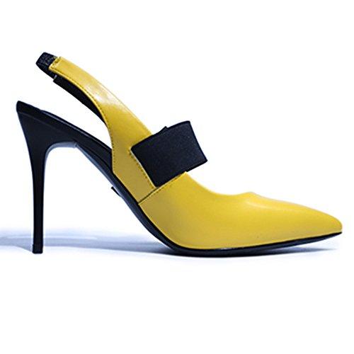 Nine Seven Cuero Moda Puntiagudos Tacones de Aguja con Lazo de Vestir para Mujer amarillo