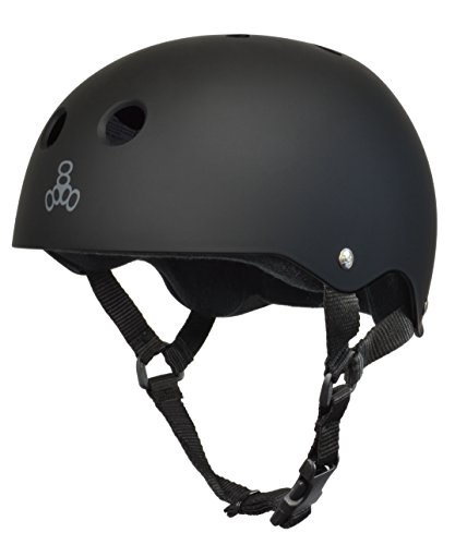 Triple Eight 1352 8 Skateboard Helmet, Black Rubber/Black, Medium