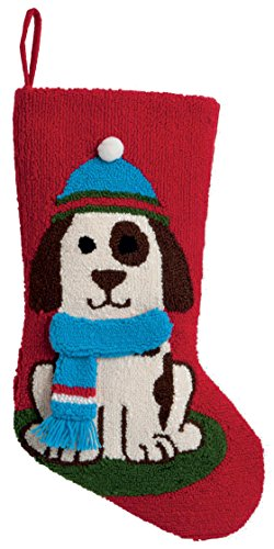 Boston International Hooked Stocking, 19-Inch Long, Dog 3D (Long Dog Cross Stitch)