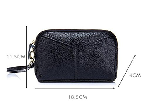 Zipper Wallet DcSpring Leather Clutch Black Strap Genuine Handbag Bag Small with Wrist Women's Purse BBr80