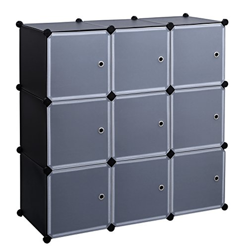 SONGMICS 3-Tier DIY Storage Cube Organizer Closet 9-Cube Bookcase Cabinet with Door (Cubby Organizer)