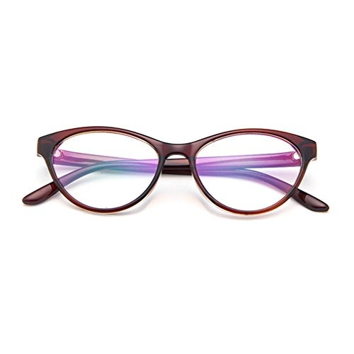 LOMOL Europe and America Retro Personality Transparent Lens Cateyes Frame Glasses For Women(C2)